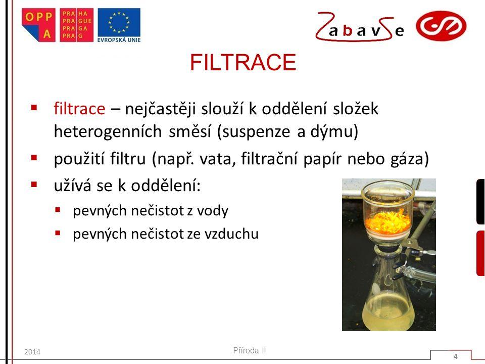 FILTRACE filtrace – nejčastěji slouží k oddělení složek heterogenních směsí (suspenze a dýmu) použití filtru (např. vata, filtrační papír nebo gáza)