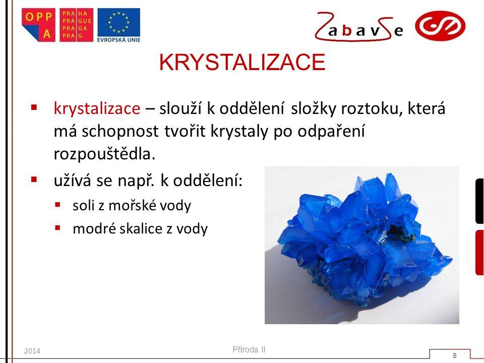 KRYSTALIZACE krystalizace – slouží k oddělení složky roztoku, která má schopnost tvořit krystaly po odpaření rozpouštědla.