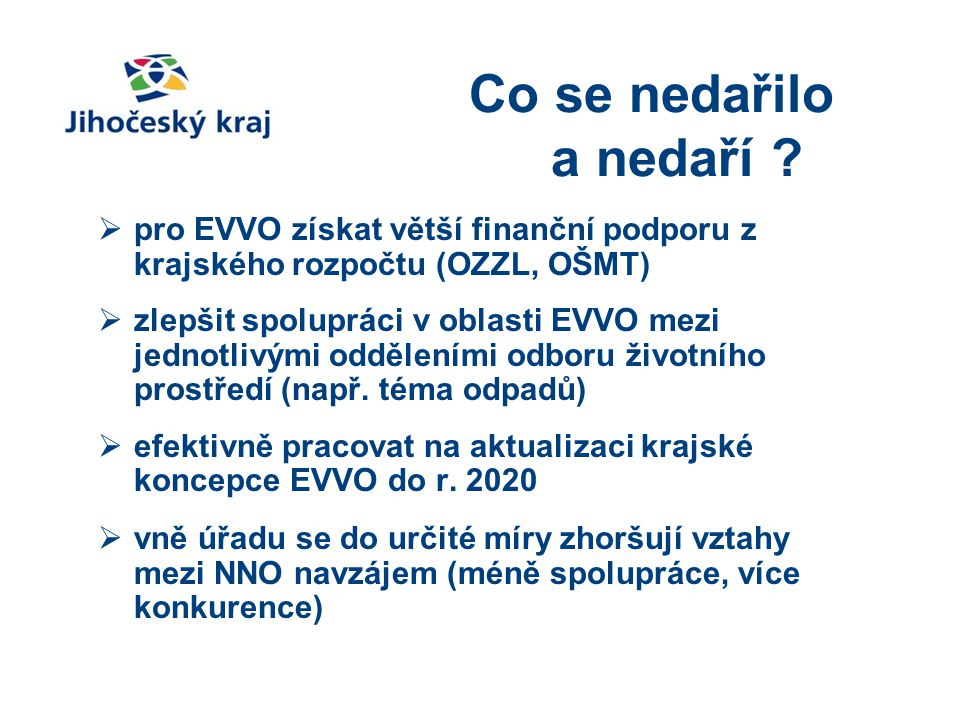 Co se nedařilo a nedaří pro EVVO získat větší finanční podporu z krajského rozpočtu (OZZL, OŠMT)