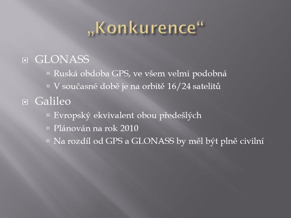 """""""Konkurence GLONASS Galileo Ruská obdoba GPS, ve všem velmi podobná"""