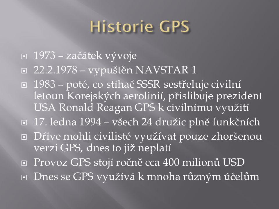 Historie GPS 1973 – začátek vývoje 22.2.1978 – vypuštěn NAVSTAR 1
