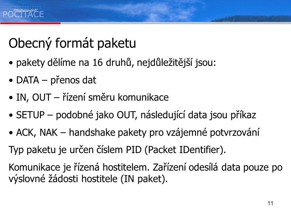 Obecný formát paketu pakety dělíme na 16 druhů, nejdůležitější jsou:
