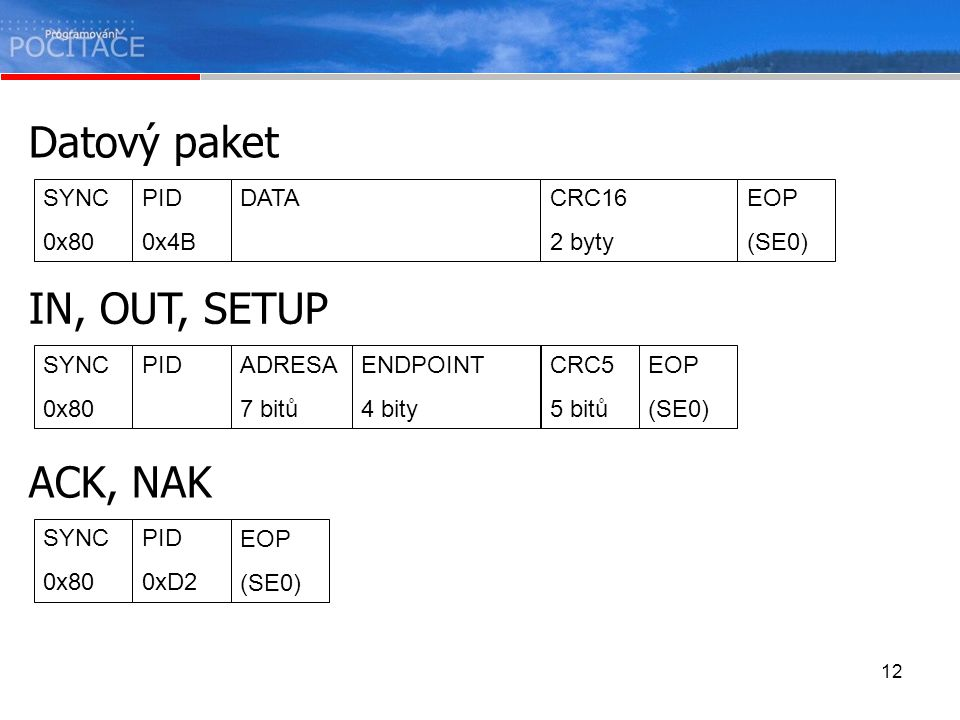 Datový paket IN, OUT, SETUP ACK, NAK SYNC 0x80 PID 0x4B DATA CRC16