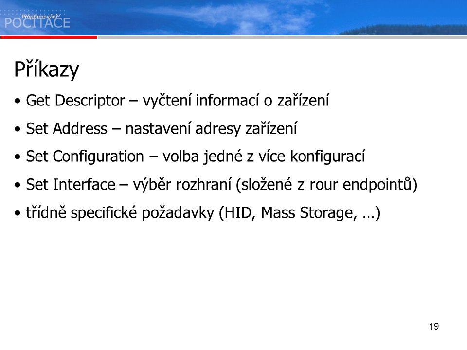 Příkazy Get Descriptor – vyčtení informací o zařízení