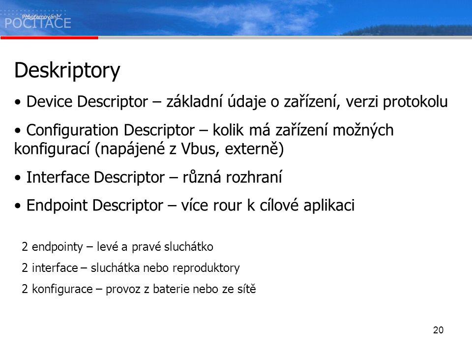 Deskriptory Device Descriptor – základní údaje o zařízení, verzi protokolu.