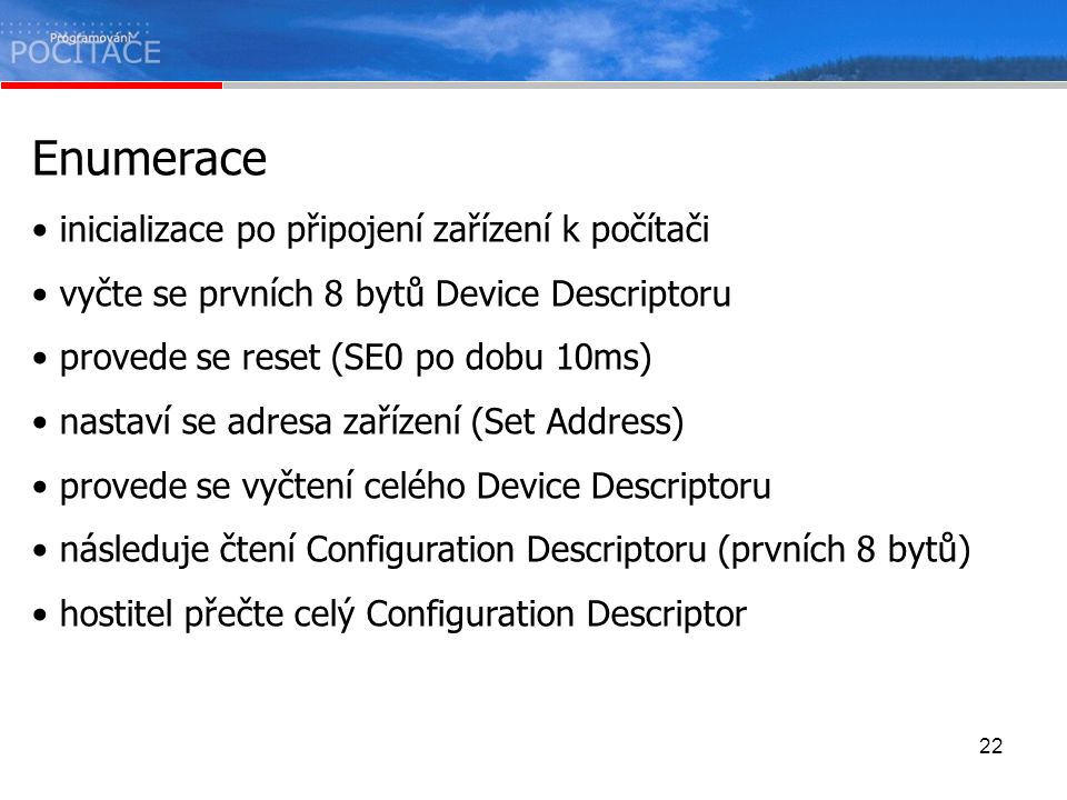 Enumerace inicializace po připojení zařízení k počítači