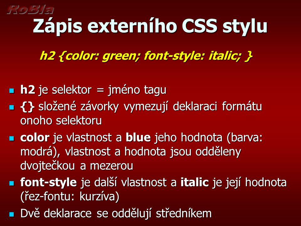 Zápis externího CSS stylu