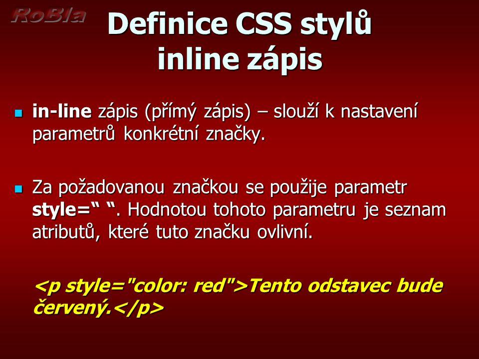 Definice CSS stylů inline zápis