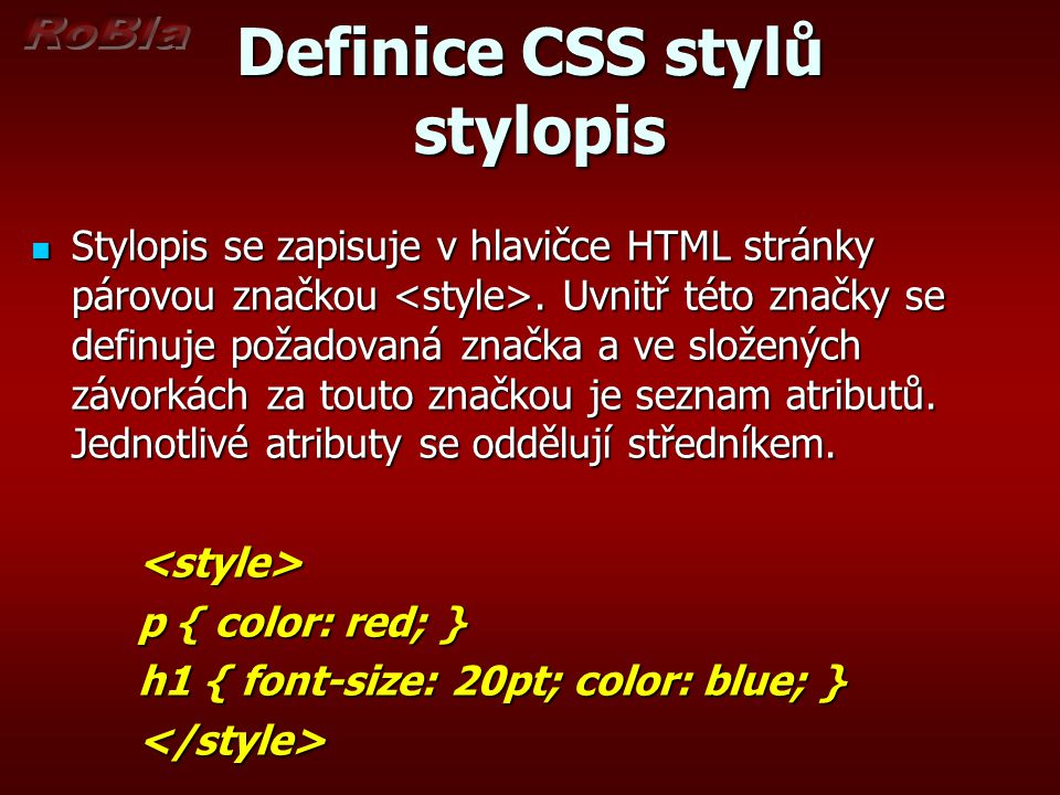 Definice CSS stylů stylopis