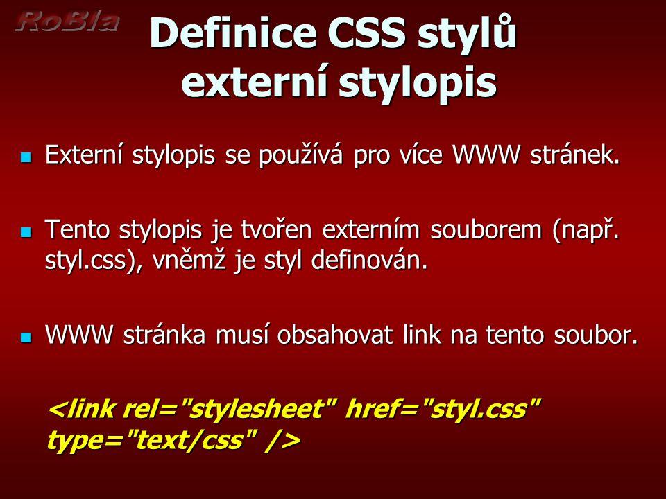 Definice CSS stylů externí stylopis