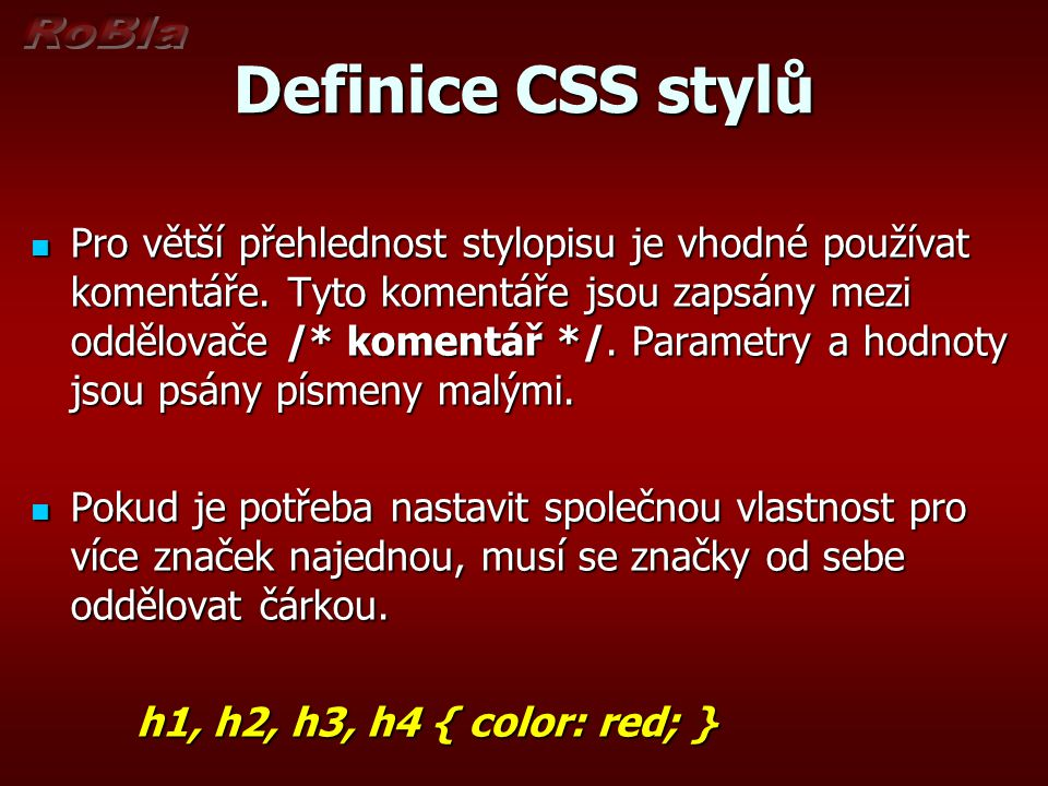 Definice CSS stylů
