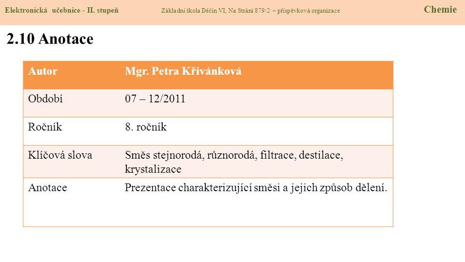 2.10 Anotace Autor Mgr. Petra Křivánková Období 07 – 12/2011 Ročník
