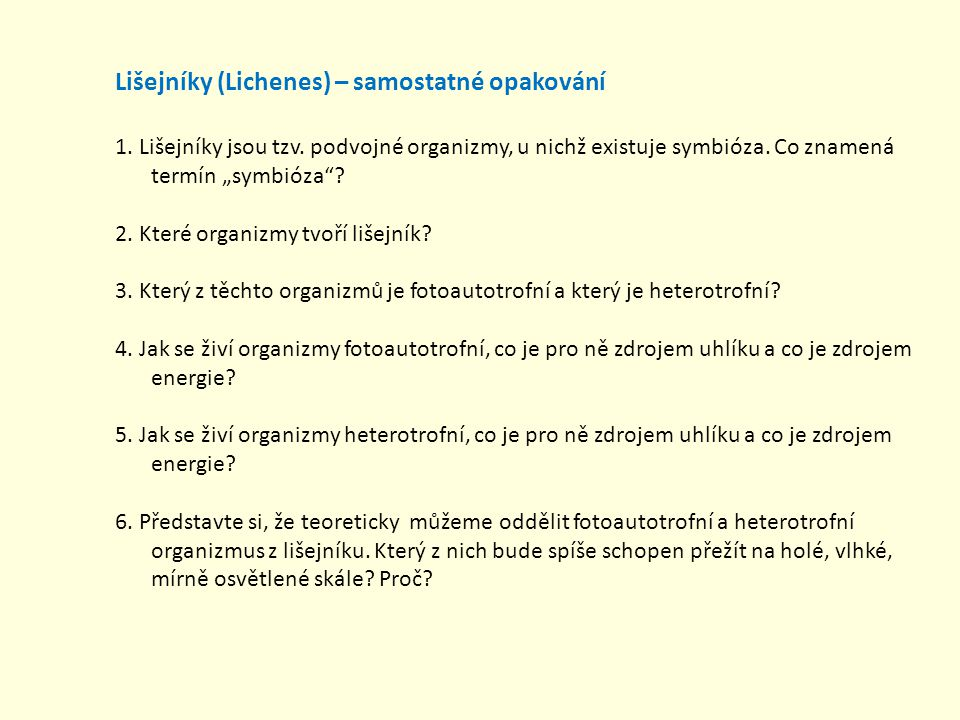 Lišejníky (Lichenes) – samostatné opakování