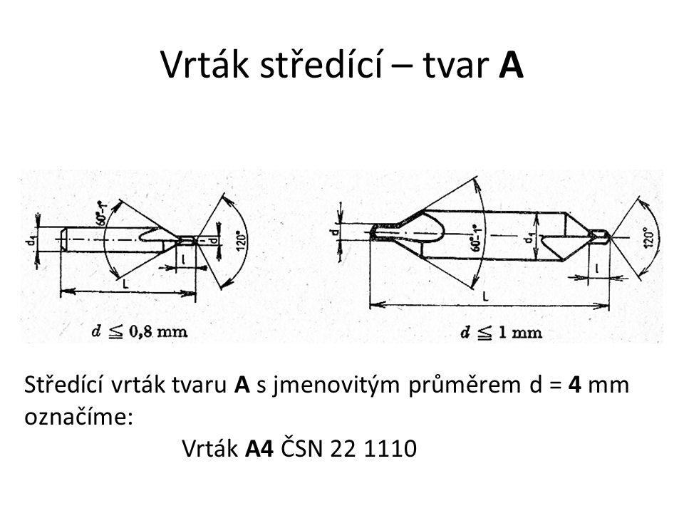 Vrták středící – tvar A Středící vrták tvaru A s jmenovitým průměrem d = 4 mm.