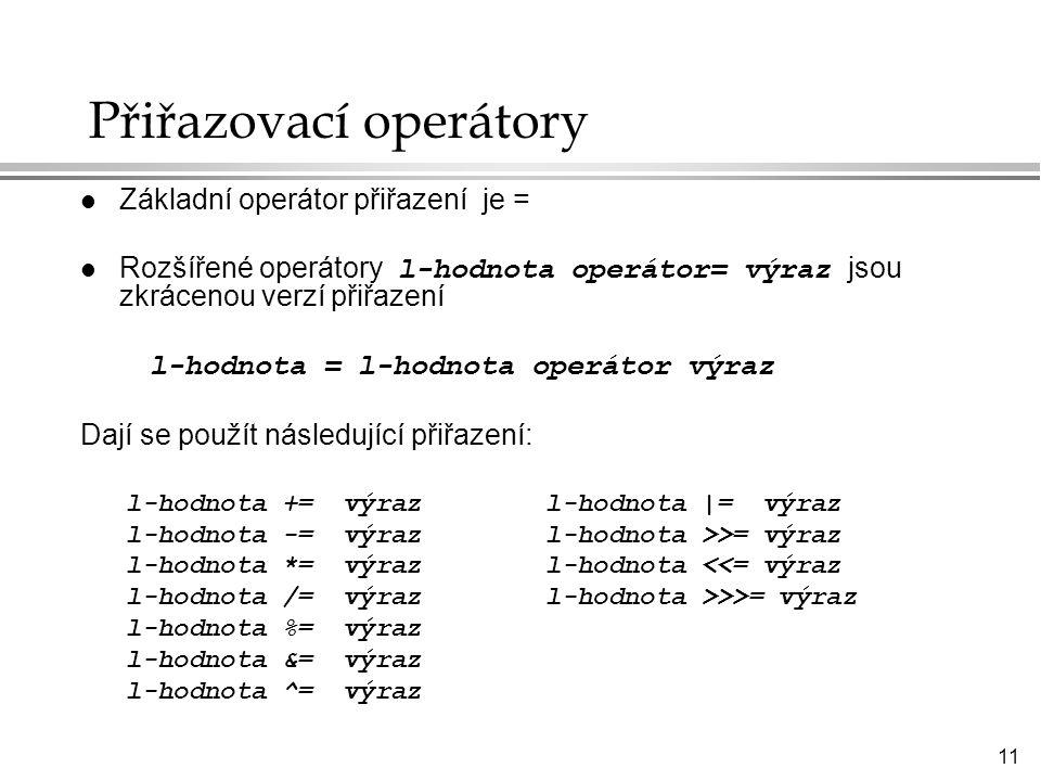 Přiřazovací operátory