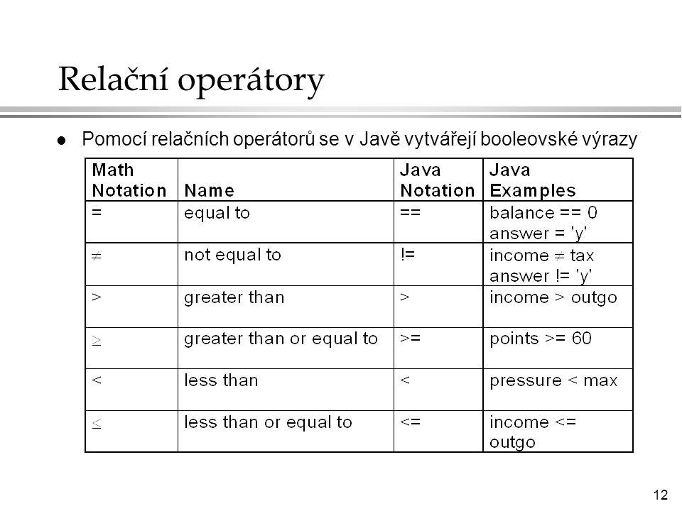 Relační operátory Pomocí relačních operátorů se v Javě vytvářejí booleovské výrazy
