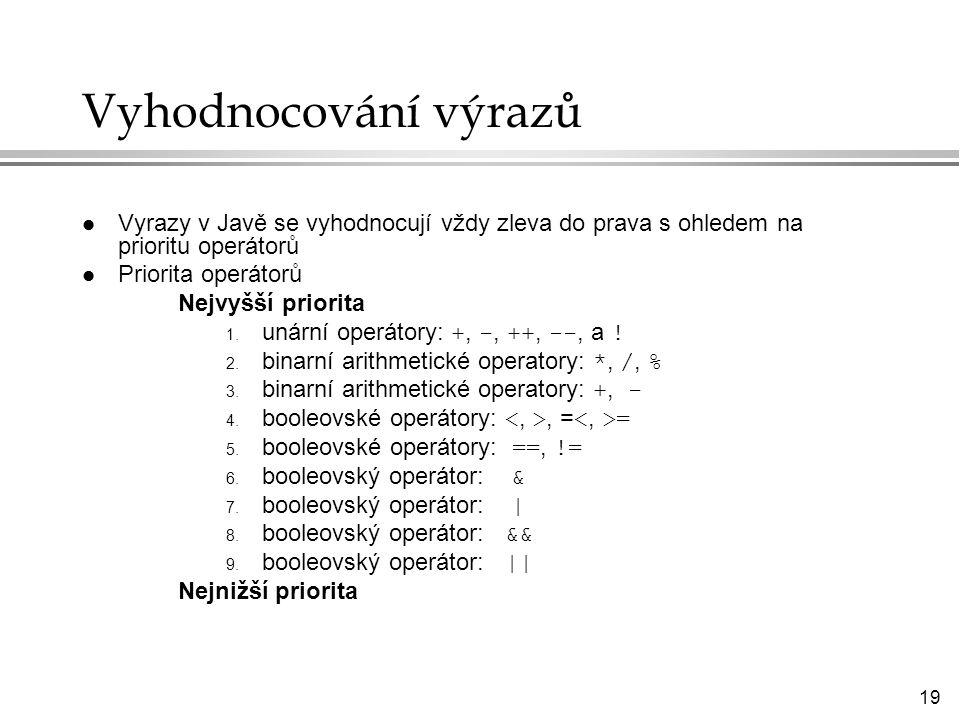 Vyhodnocování výrazů Vyrazy v Javě se vyhodnocují vždy zleva do prava s ohledem na prioritu operátorů.