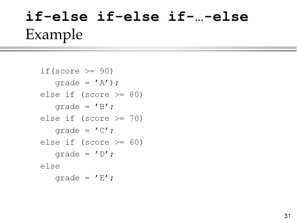 if-else if-else if-…-else Example