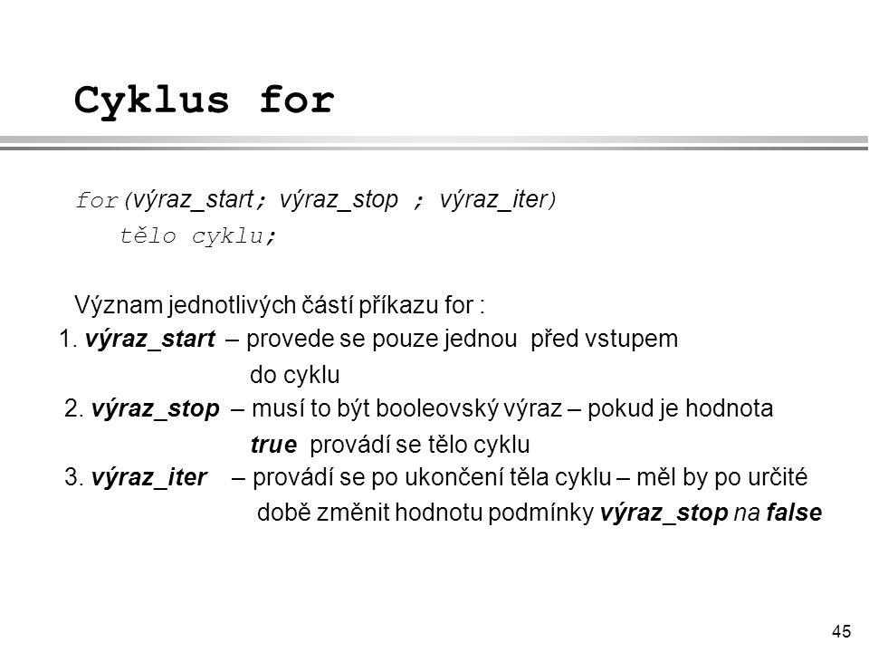 Cyklus for for(výraz_start; výraz_stop ; výraz_iter) tělo cyklu;