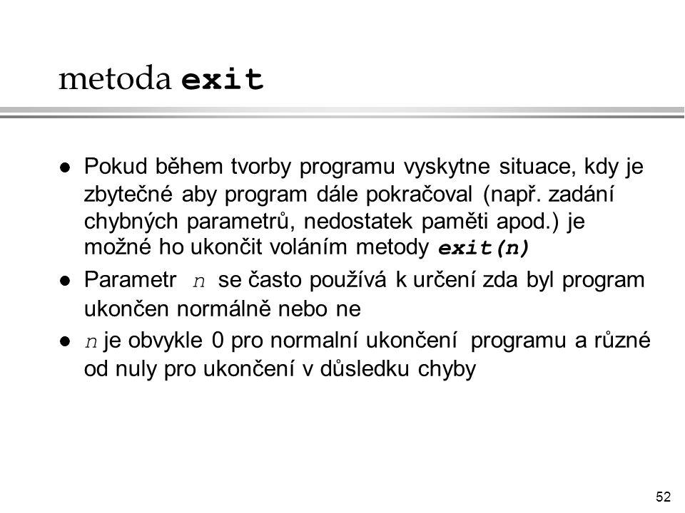 metoda exit