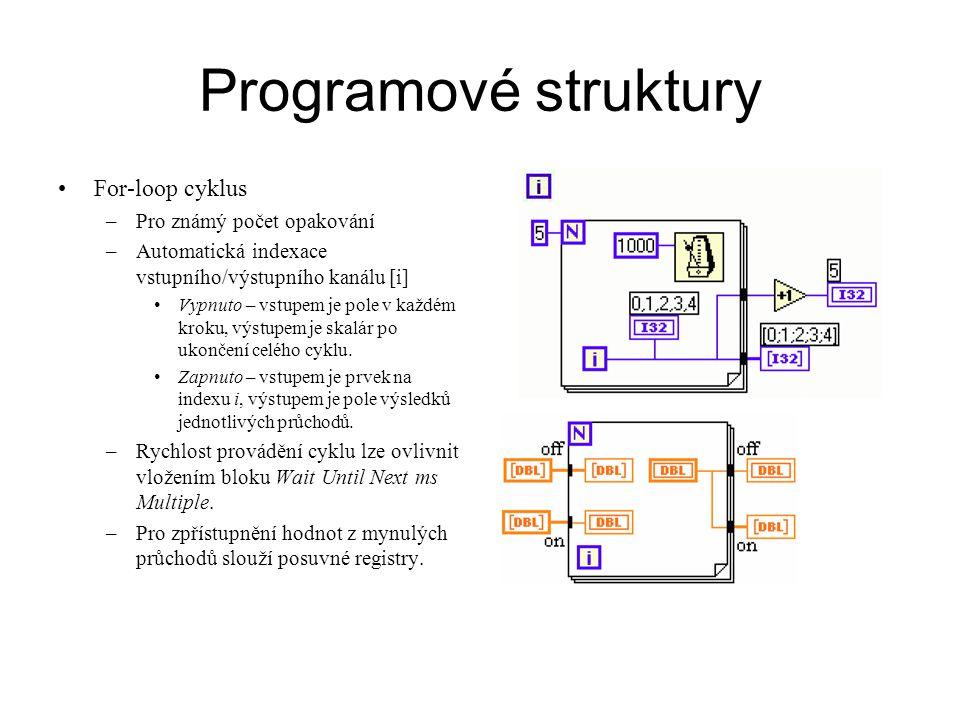 Programové struktury For-loop cyklus Pro známý počet opakování