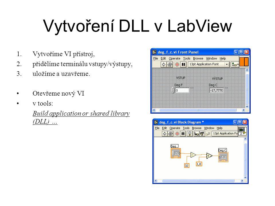 Vytvoření DLL v LabView