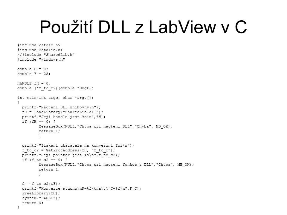 Použití DLL z LabView v C