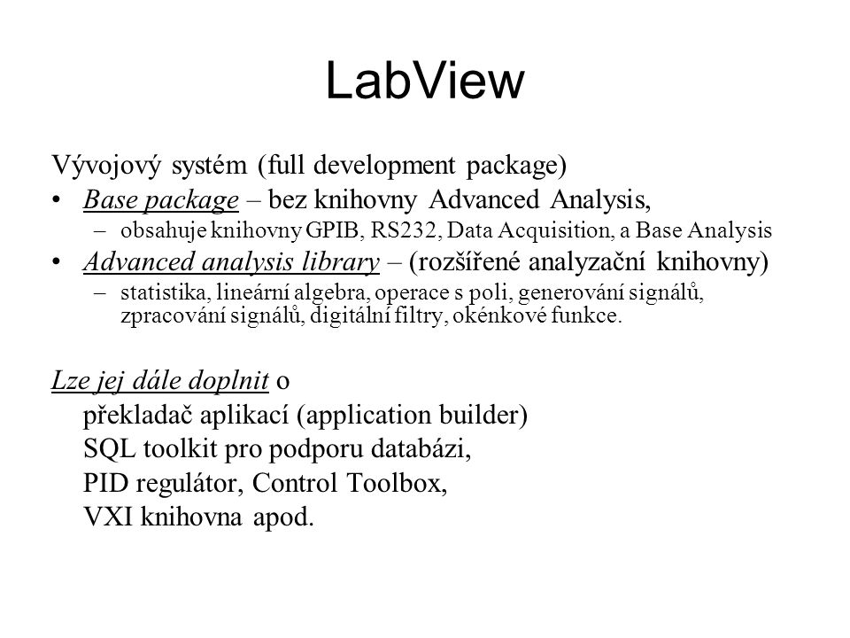 LabView Vývojový systém (full development package)
