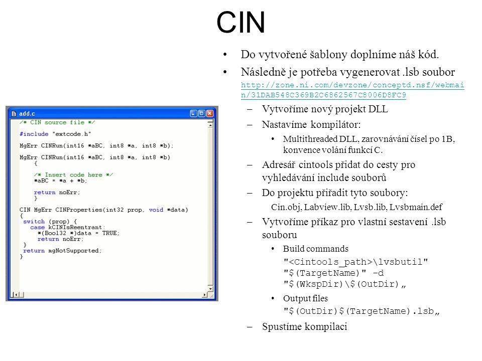 CIN Do vytvořené šablony doplníme náš kód.