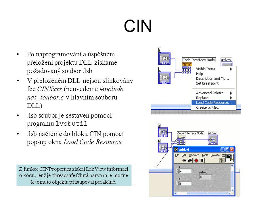 CIN Po naprogramování a úspěšném přeložení projektu DLL získáme požadovaný soubor .lsb.