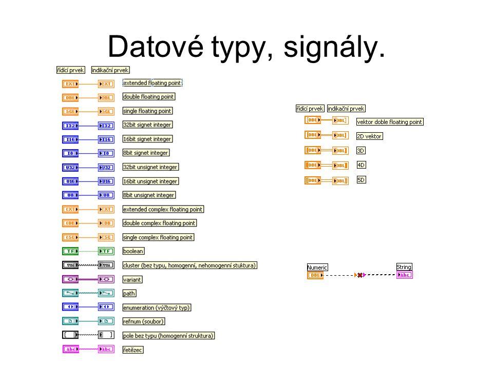 Datové typy, signály. 1) Datové typy se odlišují svoji barvou.