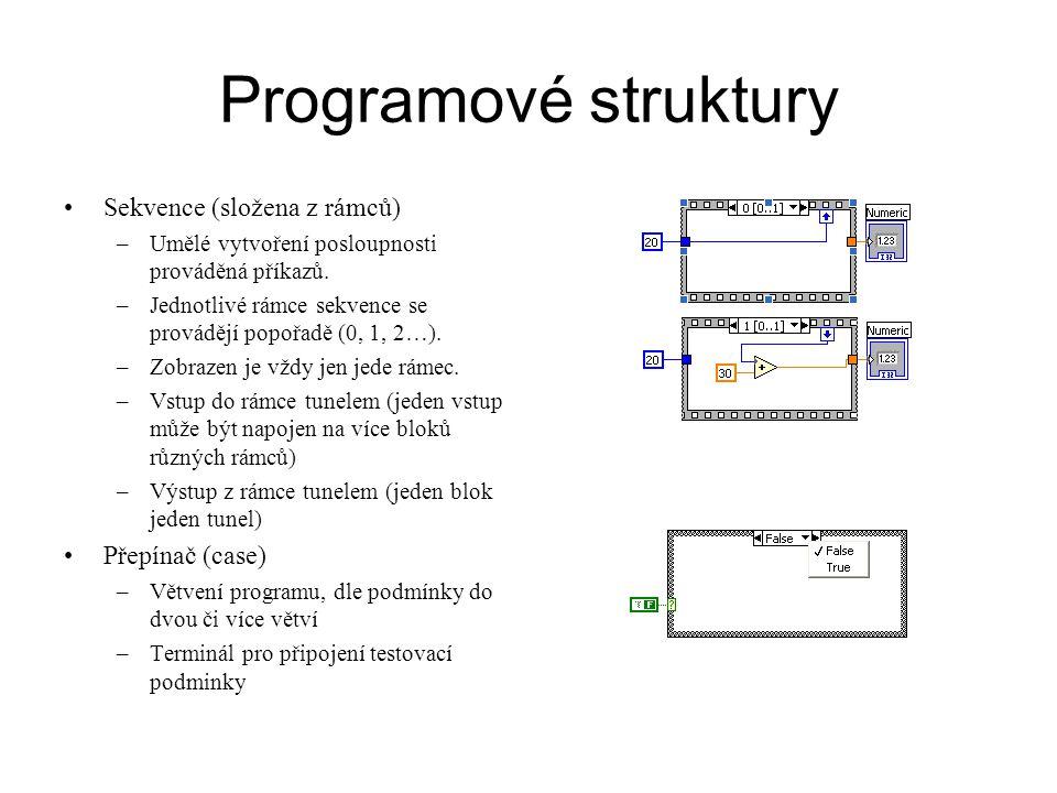 Programové struktury Sekvence (složena z rámců) Přepínač (case)