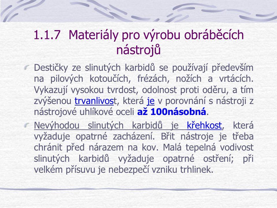 1.1.7 Materiály pro výrobu obráběcích nástrojů