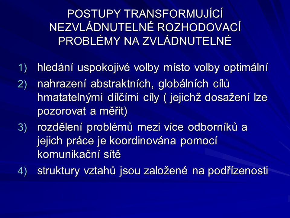 POSTUPY TRANSFORMUJÍCÍ NEZVLÁDNUTELNÉ ROZHODOVACÍ PROBLÉMY NA ZVLÁDNUTELNÉ