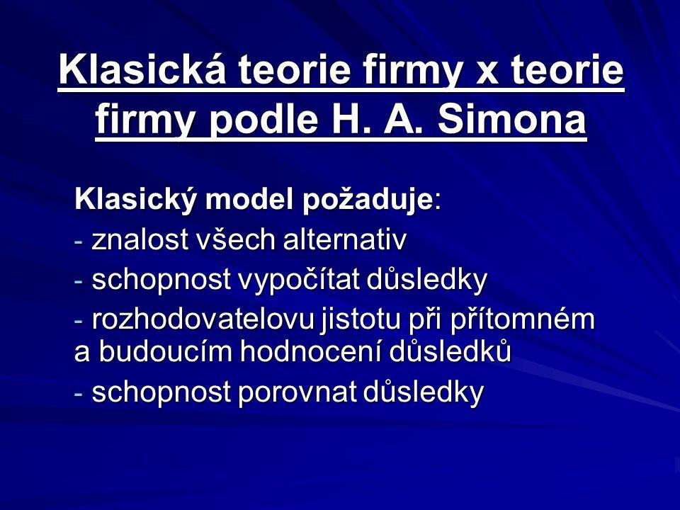 Klasická teorie firmy x teorie firmy podle H. A. Simona