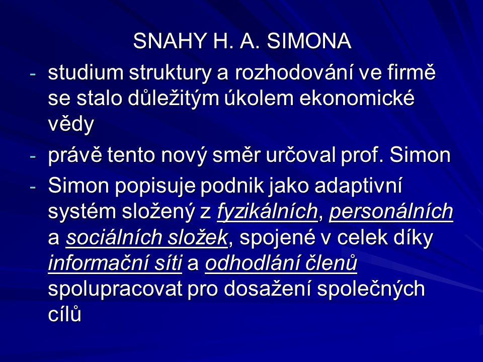 SNAHY H. A. SIMONA studium struktury a rozhodování ve firmě se stalo důležitým úkolem ekonomické vědy.
