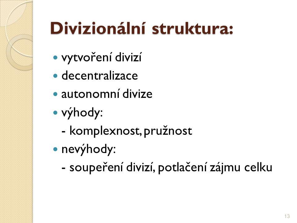 Divizionální struktura: