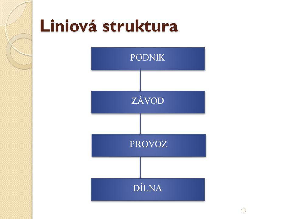Liniová struktura ZÁVOD PODNIK PROVOZ DÍLNA