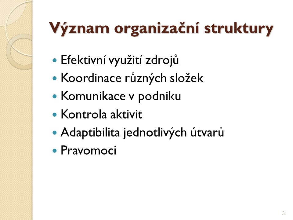 Význam organizační struktury