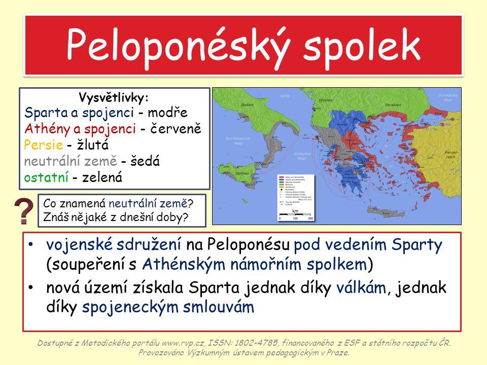 Peloponéský spolek Vysvětlivky: Sparta a spojenci - modře. Athény a spojenci - červeně. Persie - žlutá.