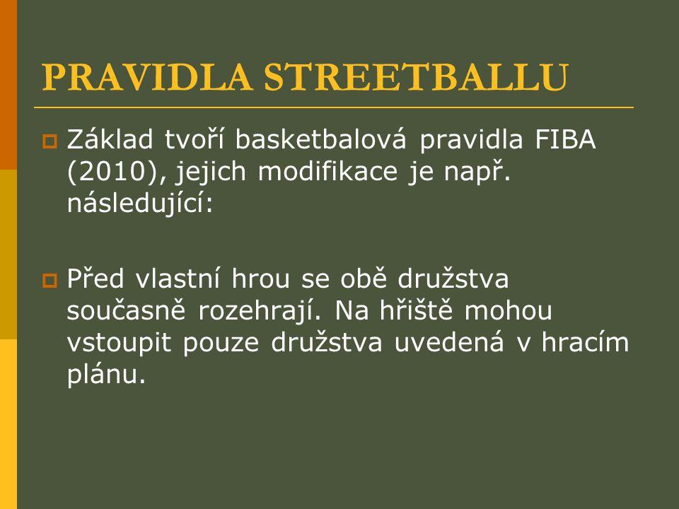 PRAVIDLA STREETBALLU Základ tvoří basketbalová pravidla FIBA (2010), jejich modifikace je např. následující: