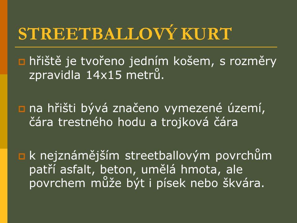 STREETBALLOVÝ KURT hřiště je tvořeno jedním košem, s rozměry zpravidla 14x15 metrů.
