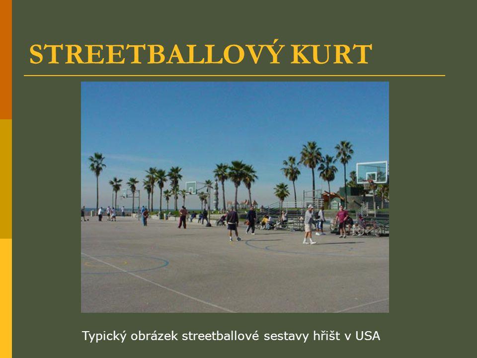 STREETBALLOVÝ KURT Typický obrázek streetballové sestavy hřišt v USA