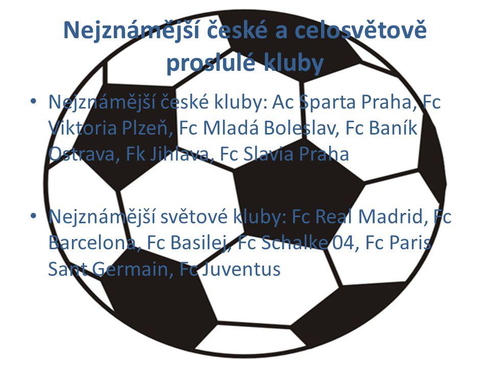 Nejznámější české a celosvětově proslulé kluby