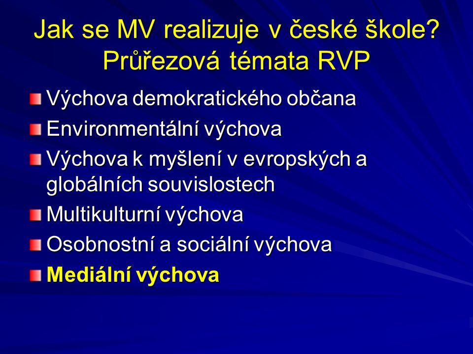 Jak se MV realizuje v české škole Průřezová témata RVP