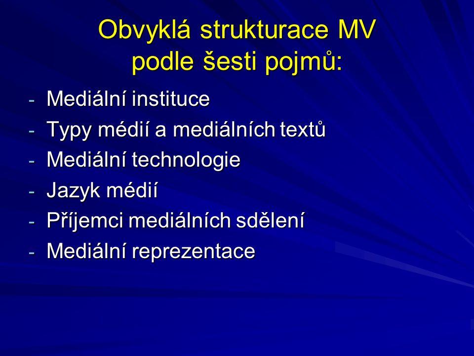 Obvyklá strukturace MV podle šesti pojmů: