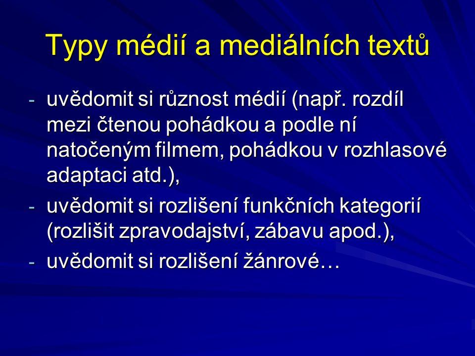 Typy médií a mediálních textů