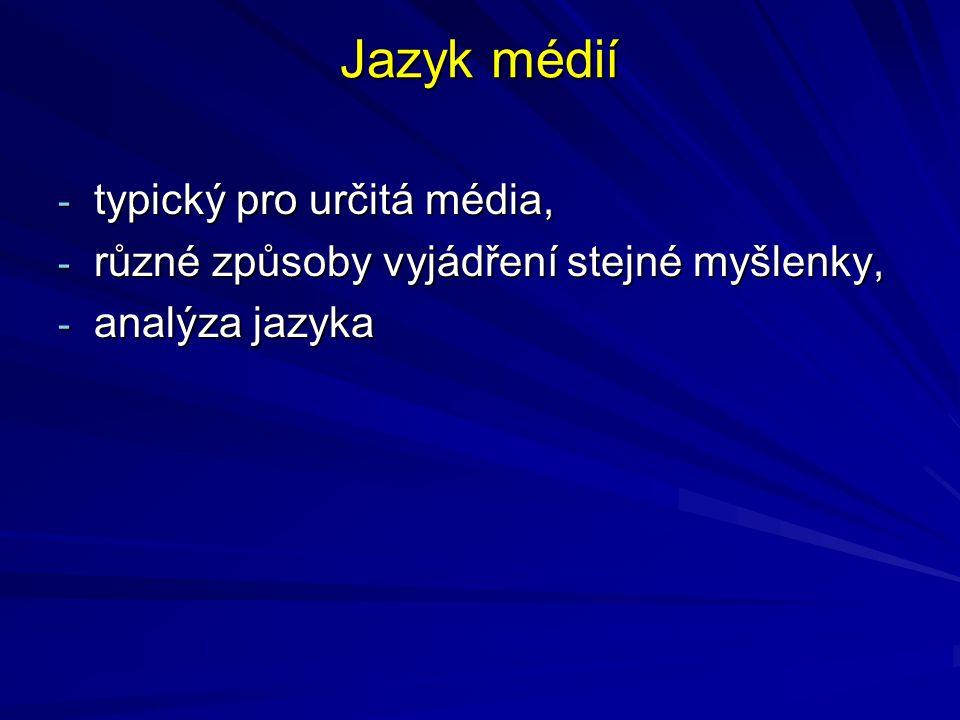 Jazyk médií typický pro určitá média,