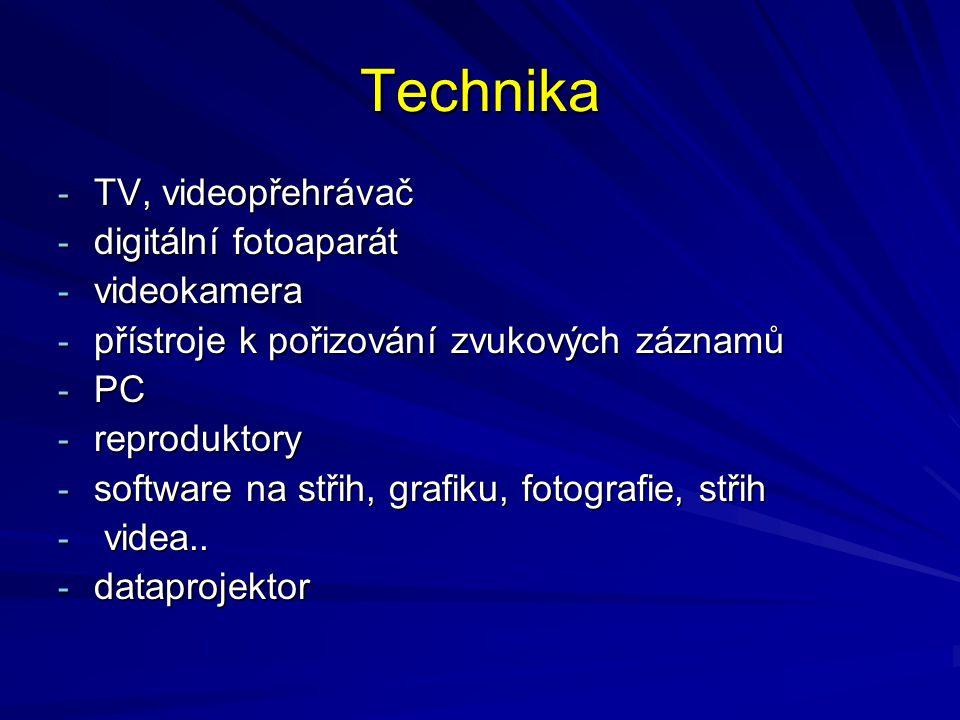 Technika TV, videopřehrávač digitální fotoaparát videokamera