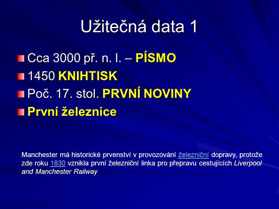Užitečná data 1 Cca 3000 př. n. l. – PÍSMO 1450 KNIHTISK